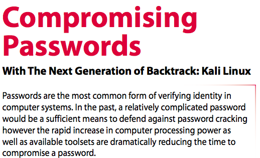 Compromising Passwords With Kali Linux – Article From