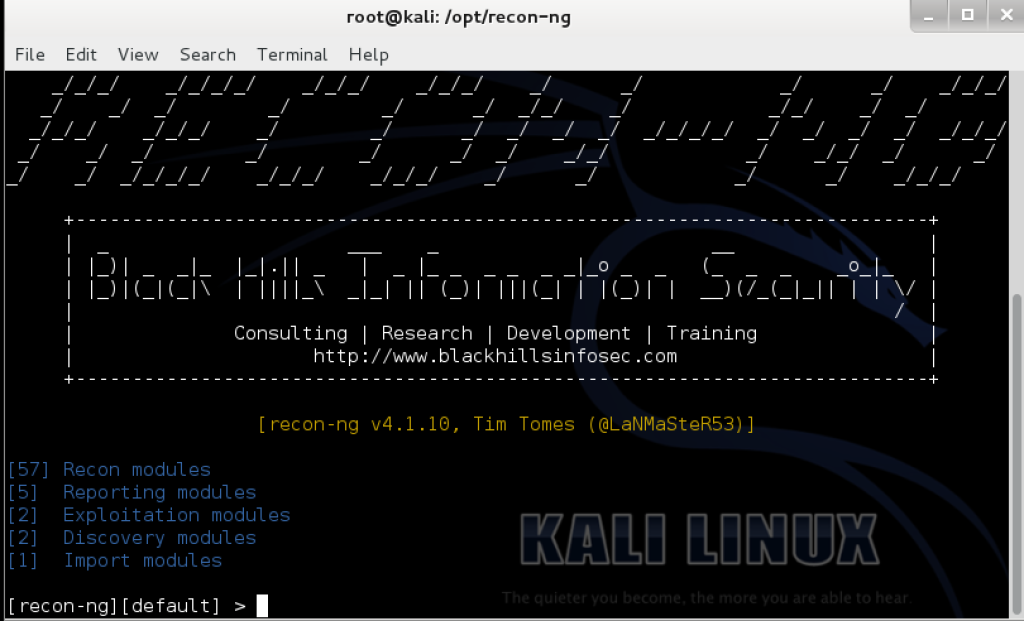 Starting recon ng 1024x621 Recon ng – advanced reconnaissance framework