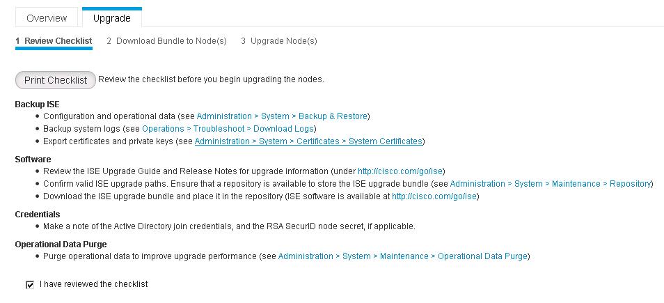Upgrading Cisco Identity Services Engine to 2 2 using GUI